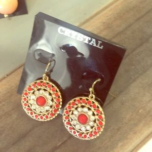 Jewelry - Gold and burnt red earrings